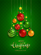 Shiny Christmas Balls On Green Background