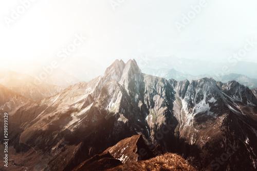 Montage in der Fensternische Landschaft Höfats Mountain in the Bavarian Alps near Oberstdorf