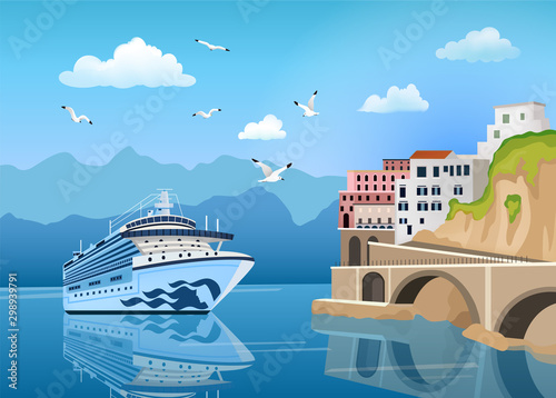 Foto auf AluDibond Blau Landscape with cruise ship near coast with buildings and houses, tourism