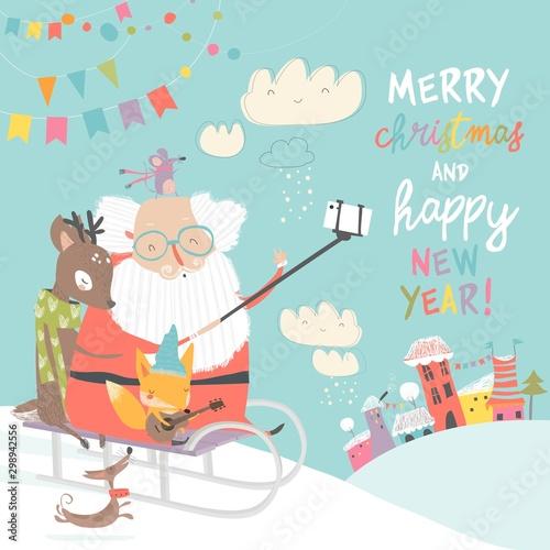 Santa take a selfie with reindeer and fox