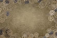 Steampunk Grunge Gear Frame Backdrop Brown