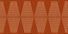 Abstract Woven Rhomboid Style Border. Seamless Geometric Vector Pattern On Earthy Red Background. Great For Wellbeing, Spa Products, Summer, Fall Packaging, Stationery, Texture, Concept, Edging, Trim