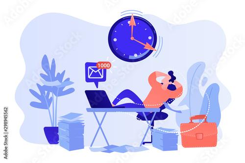Cuadros en Lienzo Procrastinating businessman sitting with legs on office desk postponing work