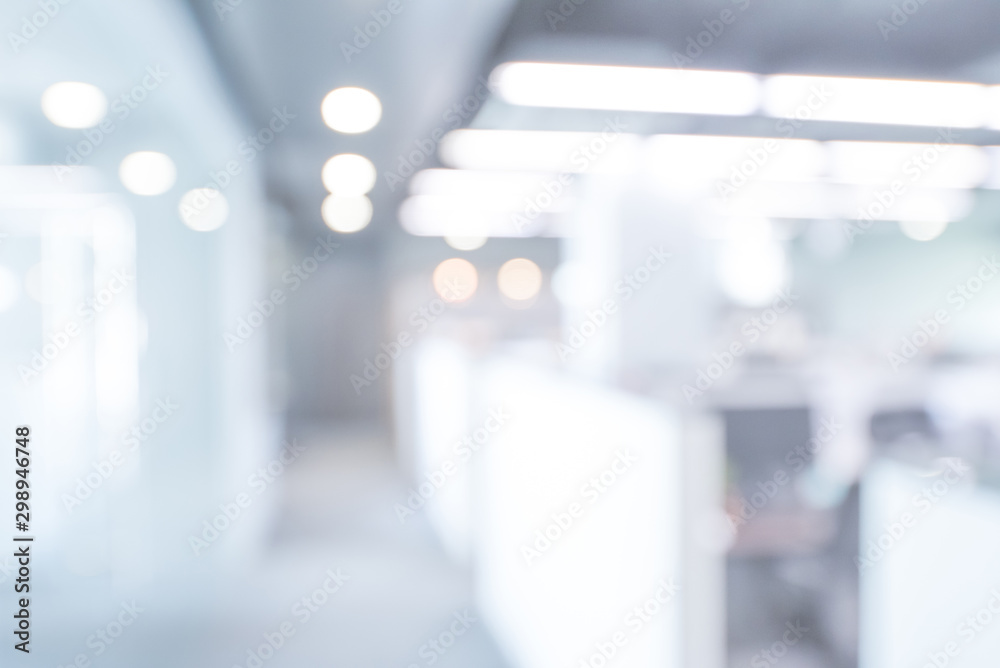 Obraz Abstract blurred office hall interior and meeting room. Blurry corridor in working space with defocused effect. Use for background or backdrop in business concept fototapeta, plakat