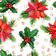 Bright red and green christmas seamless pattern with decorations