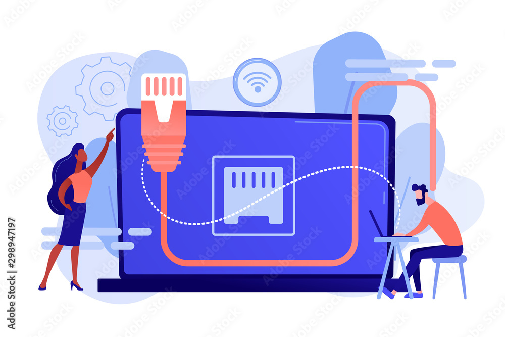Fototapeta Businessman at table using laptop with ethernet connection. Ethernet connection, LAN connection technology, ethernet network system concept. Pinkish coral bluevector isolated illustration