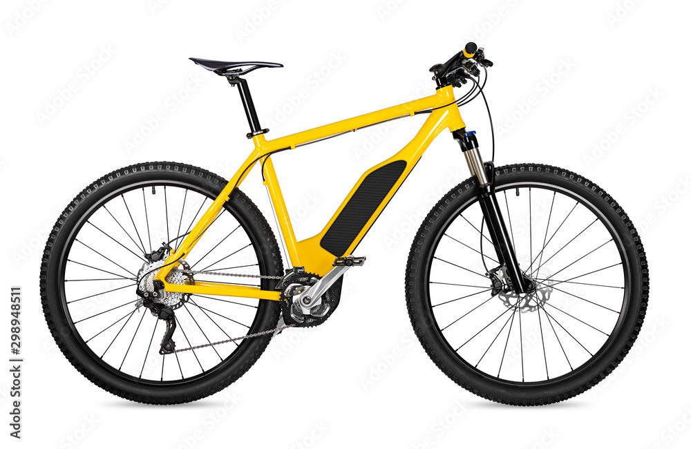 Fototapety, obrazy: yellow ebike pedelec with battery powered motor bicycle moutainbike. mountain bike ecology modern transport concept isolated on white background