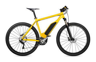 yellow ebike pedelec with battery powered motor bicycle moutainbike. mountain bike ecology modern transport concept isolated on white background
