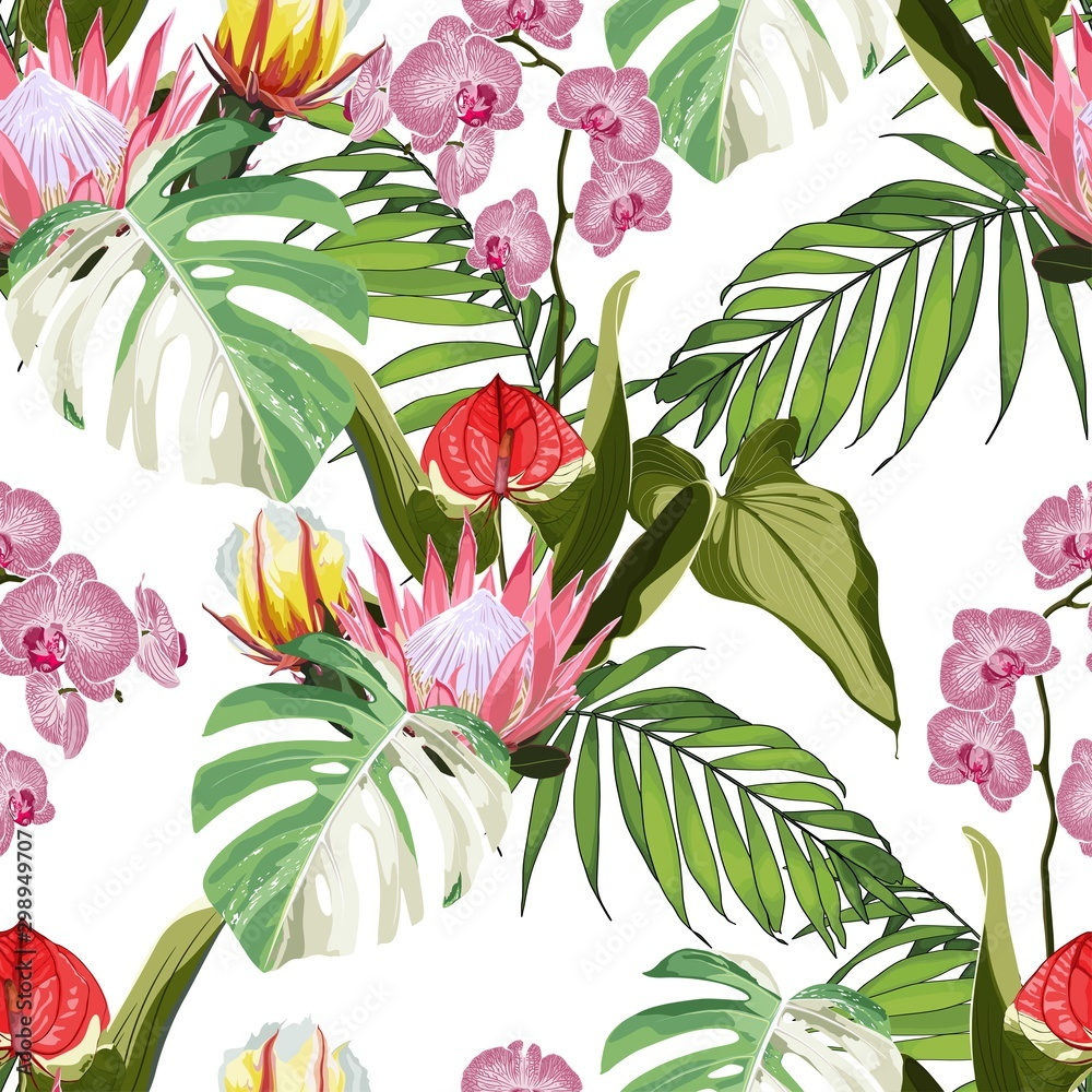 Tropical  exotic flowers, palm trees floral seamless pattern white background. Exotic jungle wallpaper.