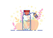 Vector Designer Illustration With Bottle Of Elixir Of Fortune. Magic Bottle With A Potion On A Background Of Pumpkin. Good Luck Potion.