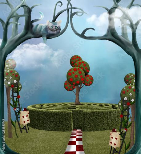 Stampa su Tela Wonderland series: an enchanted maze, playing card and a cheshire cat