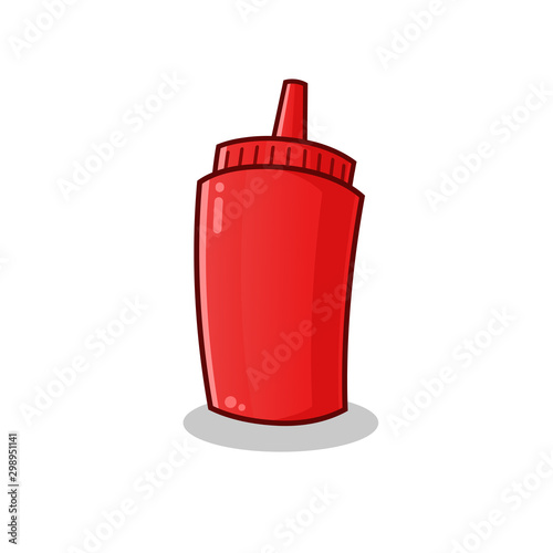 ketchup logo vector cartoon illustration Canvas Print