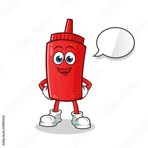 ketchup talking mascot vector cartoon art illustration Canvas Print