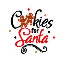 Cookies For Santa. Christmas Design. Clipart Santa. Cookie Plate Decor .  Holiday Vector Files. Transparent Background.