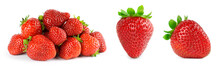 Strawberry On White Background. Fresh Sweet Fruit Closeup.