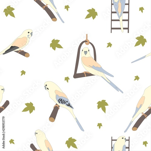 Photo Seamless hand drawn pattern with beautiful birds.