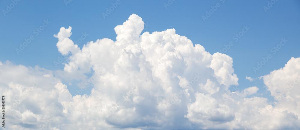 Leinwandbild Motiv - evannovostro : White cumulus clouds formation in blue sky