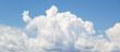 Leinwandbild Motiv White cumulus clouds formation in blue sky