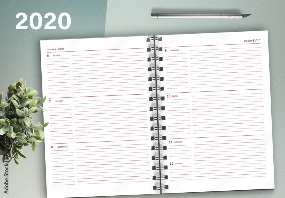 Fototapeta Weekly 2020 Planner Layout