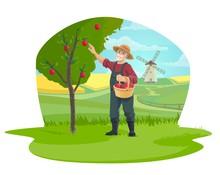Farmer Picking Apple Fruits At Farm Garden Icon