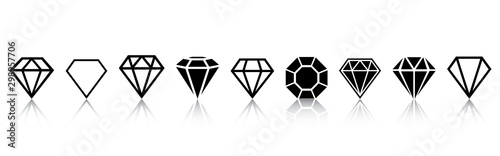 Fotomural A set of diamonds in a flat style