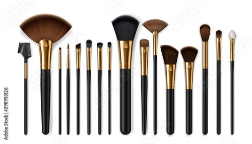 Pinturas sobre lienzo  Makeup brushes, eyebrow comb. Make-up artist kit