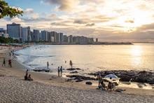 Sun Set At Beira Mar Avenue In The Brazilian Coastal City Of Fortaleza
