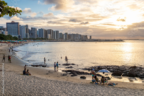 Poster Gris Sun set at Beira Mar avenue in the brazilian coastal city of Fortaleza