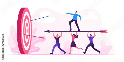 Business Goals Achievement Concept. Businesspeople Team Carry Huge Arrow with Businessman Standing on it Running