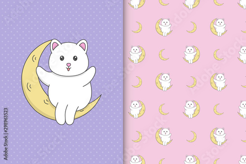 Cute cat sit on moon seamless pattern illustration for children's products