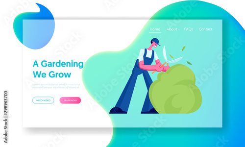Foto auf Gartenposter Turkis Landscaping, Greenery and Garden Maintenance Concept Website Landing Page. Happy Young Gardener Trimming Green Bush with Huge Scissors or Clippers. Web Page Banner. Cartoon Flat Vector Illustration