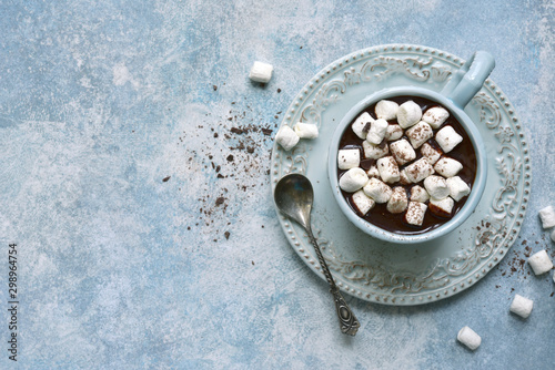 Foto auf Gartenposter Schokolade Homemade hot chocolate with mini marshmallow .Top view with copy space.