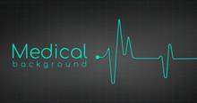 Heartbeat Ekg Pulse Tracing On Black Background, Medical Or Health Concept. Vector Illustration.