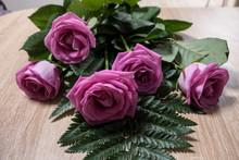 Five Pink Roses Lie On A Light...
