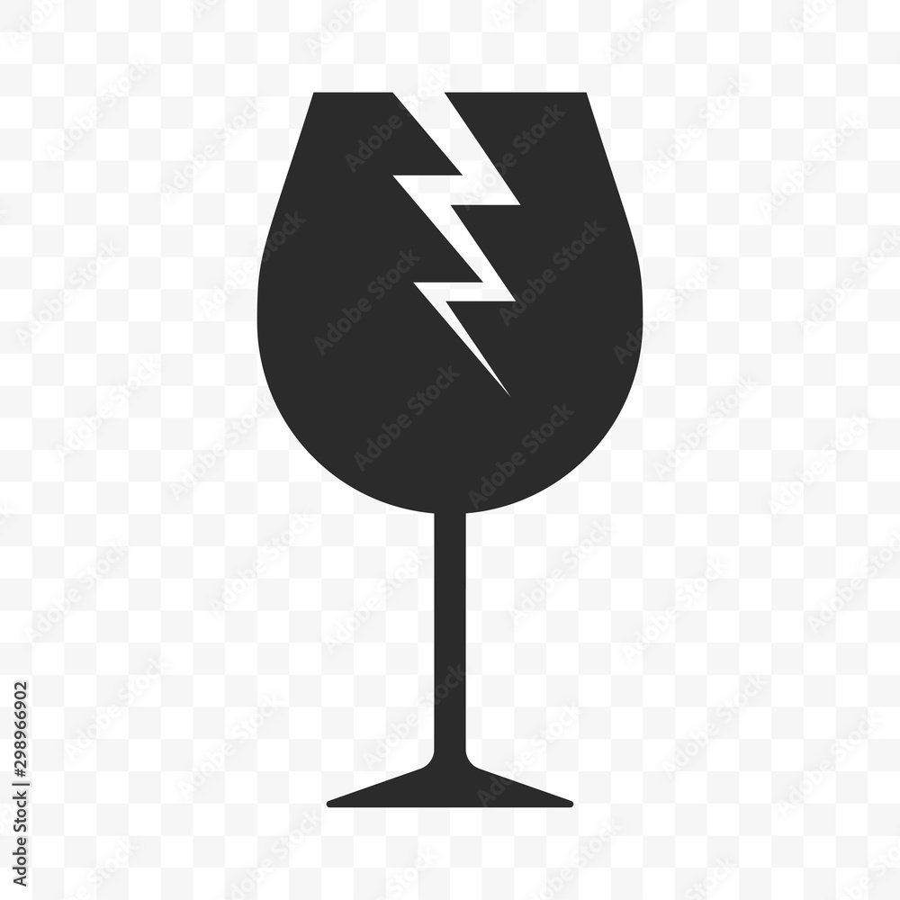 Fototapeta Fragile icon, logistics shipping warning, vector broken glass cup sign. Handle with care, fragile parcel box delivery package pictogram