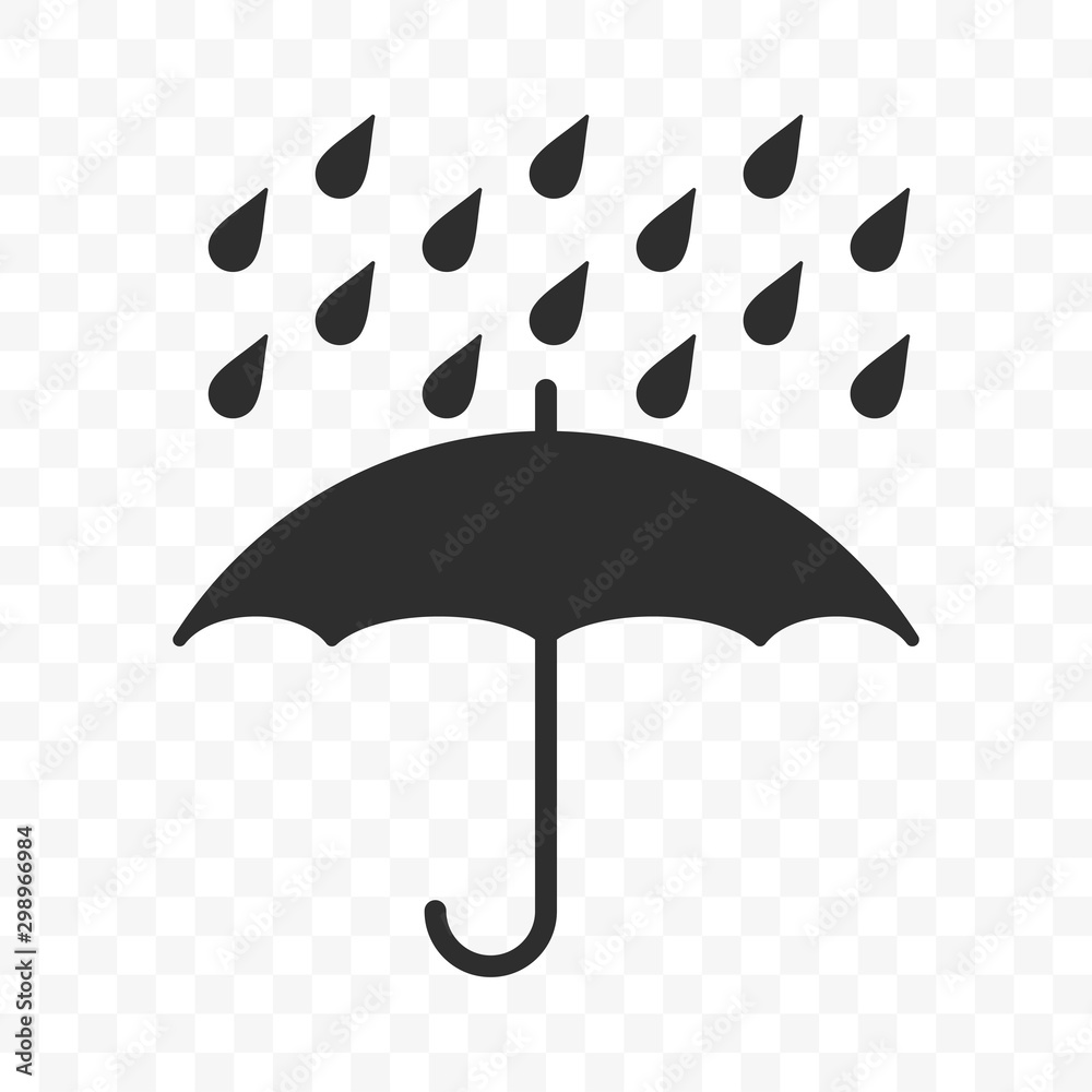 Umbrella icon, fragile box and keep away from water warning vector symbol. Package parcel logistics and delivery shipping, umbrella and rain drops sign - obrazy, fototapety, plakaty