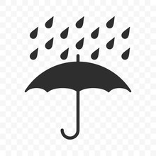Umbrella Icon, Fragile Box And Keep Away From Water Warning Vector Symbol. Package Parcel Logistics And Delivery Shipping, Umbrella And Rain Drops Sign