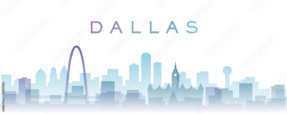 Dallas Transparent Layers Gradient Landmarks Skyline
