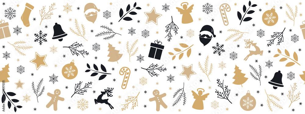 Fototapeta Christmas icon elements golden black border pattern isolated white background.