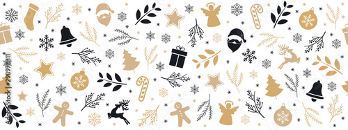 Foto-Vinylboden - Christmas icon elements golden black border pattern isolated white background. (von Pixasquare)