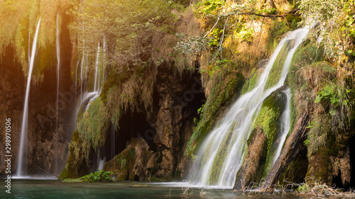 Printed kitchen splashbacks Forest river Magical and tropical falls in rainforest