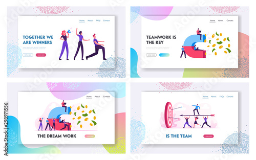 Photo  Earning Internet Technologies, Teamwork and Money Attraction Website Landing Page Set