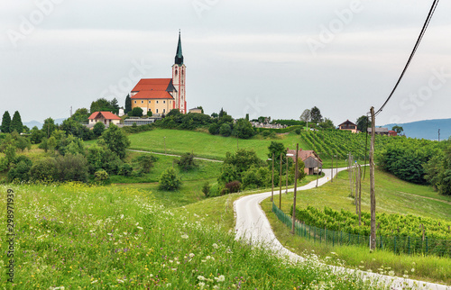 Montage in der Fensternische Pistazie Summer landscape with Church of St. Peter near Maribor, Slovenia.