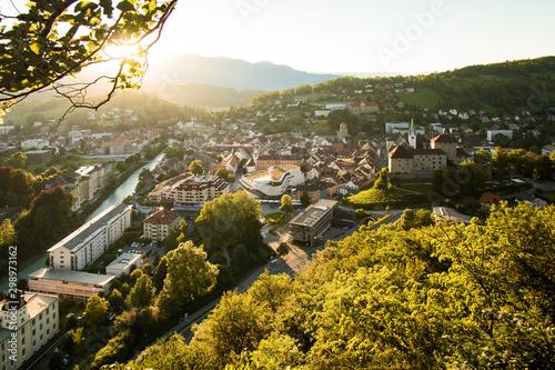 Foto auf Gartenposter Schwarz Feldkirch bei Sonnenuntergang