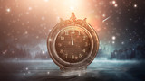 Dark abstract scene with a vintage watch. Night landscape, snow, smoke, magic fantasy with a clock.