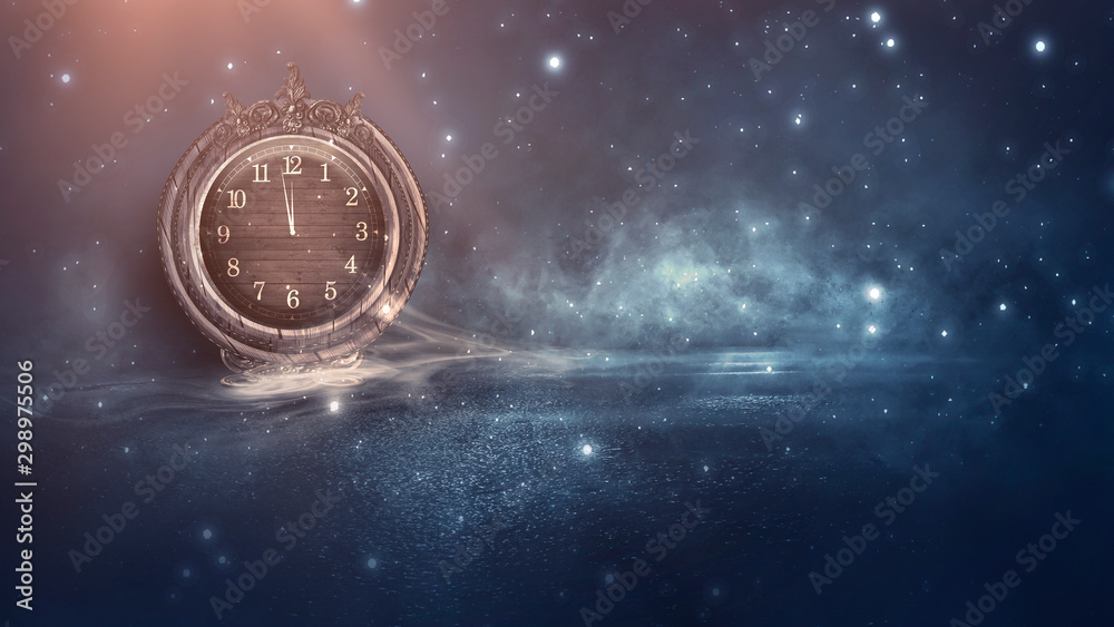 Fototapety, obrazy: Dark abstract scene with a vintage watch. Night landscape, snow, smoke, magic fantasy with a clock.