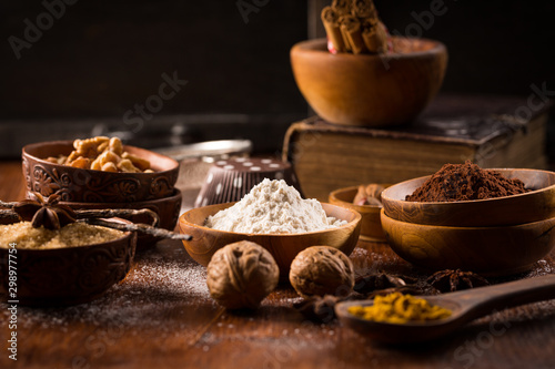 Obraz Christmas baking ingredient and spices - fototapety do salonu