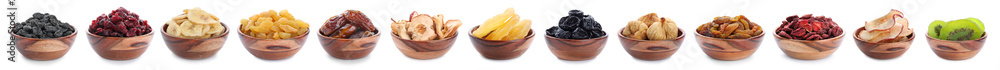 Fototapety, obrazy: Bowls with different dried fruits on white background