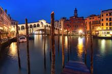 Famous Rialto Bridge Or Ponte Di Rialto Over The Grand Canal In Venice During Evening Blue Hour, Italy.