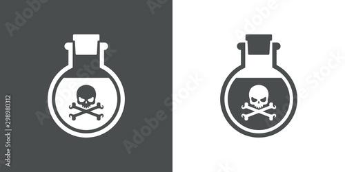 Fotografía Icono plano frasco con veneno en gris y blanco